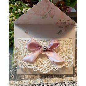 Invito Nozze avorio taglio laser con fiocco rosa cipria
