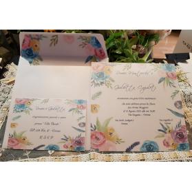 Invito Nozze perlato con decoro floreale