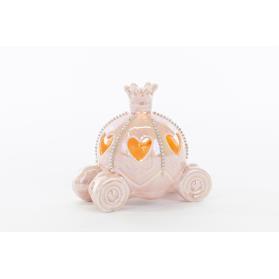 Bomboniera Carrozza in Porcellana rosa led