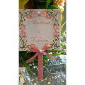 Ventaglio Nozze Personalizzato con fiori rosa