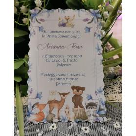 INVITO PRIMA COMUNIONE ANIMALI BOSCO