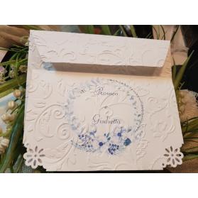 Invito Nozze fiori blu in rilievo