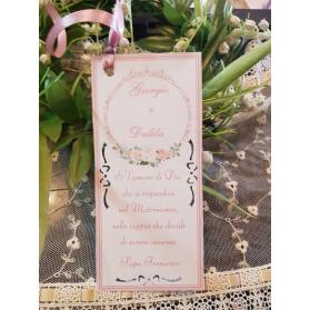 Segnaposto Matrimonio fiori rosa cipria