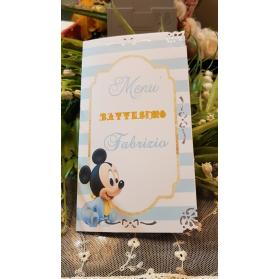 Menù Personalizzato per Battesimo Topolino