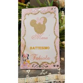 Menù Personalizzato per battesimo Minnie
