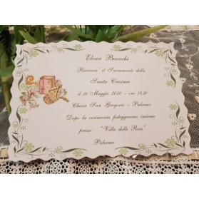 Invito Santa Cresima fiori verdi