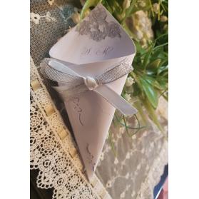 Cono Matrimonio decoro argento con iniziali