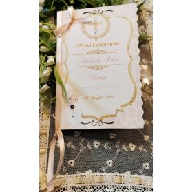 Menù Personalizzato Comunione Bimba Rosa cipria