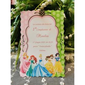 Invito primo Compleanno Principesse