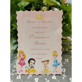 Invito Compleanno Principesse 2 anni