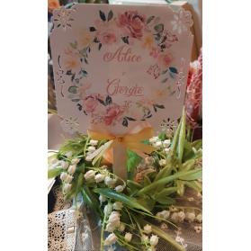 Ventaglio personalizzato decoro fiori rosa e giallo